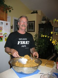"""Brigitte took these photos of me making suet last night Here in northern California it can get really hot in July and August. We're talking sometimes over 115 degrees! So I began making my own """"no melt suet"""" and the birds absolutely LOVE it! Sure I have put out the store bought stuff and they"""