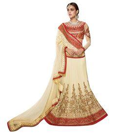 Naksh - EXCLUSIVE DESIGNER WOMENS CREAM NET ETHNIC WEDDING LEHENGA CHOLI
