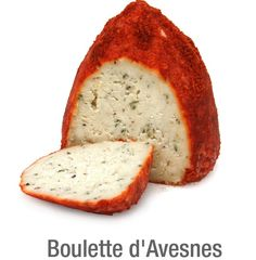 Boulette d'Avesnes. Cows milk cheese with added parsley, tarragon, cloves and pepper. Dyed with annatto and dusted with paprika. From Nord-Pas-De-Calais region, France. Its smell will invade your home.