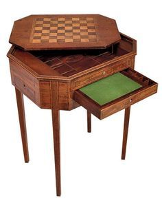 Sheraton chess table, c. 1790. Top reverses to plain wood, while drawer conceals writing surface.