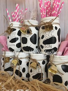 A personal favorite from my Etsy shop https://www.etsy.com/listing/534834181/cow-themed-party-jars-birthday-party