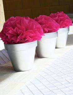 party poufs in a pot! cute party decor