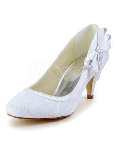 Muito branco seda e cetim arco redondo Toe bombas para noivas - Milanoo.com