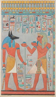 The King with Anubis, Tomb of Haremhab Lancelot Crane, Graphic Expedition of the Metropolitan Museum of Art. New Kingdom, Dynasty 18, Reign of Haremhab, 1323–1295 B.C. Upper Egypt; Thebes, Valley of the Kings, Tomb of Haremhab (KV 57). Tempera on paper
