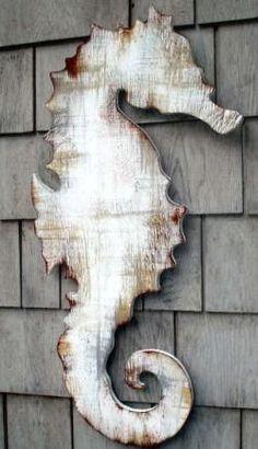 antiqued wooden seahorse plaque