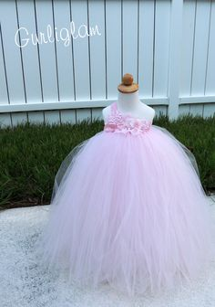 Light Pink Vintage flower girl dress has alot of soft tulle.. Warning Fluffy Alert!!! The dress has all handmade flowers by Me (Gurliglam).. One sided