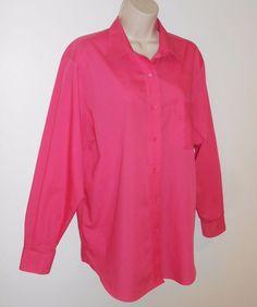 Foxcroft Wrinkle Free 14 Blouse Pink Shirt Pocket #Foxcroft #ButtonDownShirt