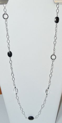Swarovski Beaded Long Chain Necklace in Jet and clear by BestBuyDesigns