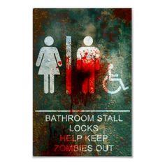 zombie bathroom print