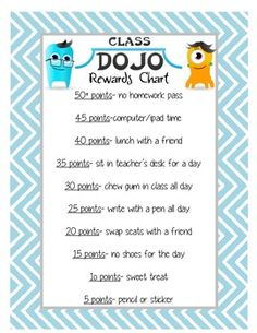 Class Dojo!! Reward Poster @Lindsay Dillon Dillon Barthle ...here's a thought...tweak it a bit for our personal tastes and voila!