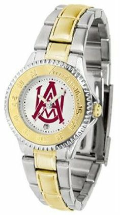 Alabama A&M Bulldogs NCAA Womens Competitor Two-Tone Watch by SunTime. $86.95. The ultimate fans statement our Competitor Two-Tone timepiece offers men a classic business-appropriate look. Features a 23kt gold-plated bezel stainless steel case and date function. Secures to your wrist with a two-tone solid stainless steel band complete with safety clasp.