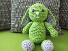 Stuffed Animals – Crochet bunny – a unique product by JanickaM on DaWanda Stuffed Animals, Dinosaur Stuffed Animal, Crochet Bunny, Plushies, Yoshi, Toys, Unique, Handmade, Art