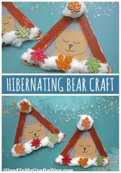 Popsicle Stick Hibernating Bear – Kid Craft - Winter crafts for kids Winter Crafts For Kids, Winter Fun, Winter Theme, Fall Crafts, Holiday Crafts, Winter Preschool Crafts Toddlers, Daycare Crafts, Toddler Crafts, Kids Crafts
