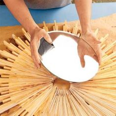 How to Make a Sunburst Mirror Frame Use shims, the handyman's secret weapon, to create a stylish piece of wall art Wood Picture Frames, Picture On Wood, Marco Diy, Wood Framed Mirror, Wall Mirrors, Sun Mirror, Mirror House, Bathroom Mirrors, Mirror Crafts