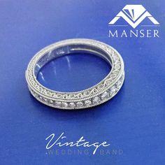 White gold vintage style half eternity diamond ring. Eternity Ring Diamond, Vintage Diamond, Wedding Bands, Vintage Style, White Gold, Vintage Fashion, Wedding Ring Bands, Wedding Band Ring, Wedding Rings