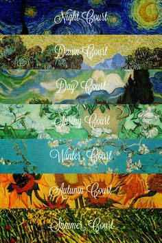 The Courts, represented by Van Gogh paintings ugh I am so into this>>> winter and day don't go along well but I love the idea A Court Of Wings And Ruin, A Court Of Mist And Fury, Feyre And Rhysand, Sara J Maas, Fanart, Sarah J Maas Books, Throne Of Glass Series, Dreams And Nightmares, Van Gogh Paintings