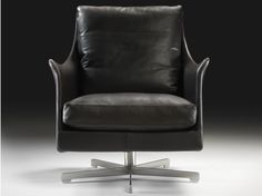 Swivel tanned leather armchair with 5-spoke base with armrests Boss Collection by FLEXFORM | design Centro Studi Flexform