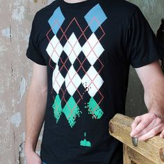 Space Invaders Argyle Shirt on black- Men's Argyle Tshirt S M L XL 2X 3X more cool t shirts here http://www.forthemanilove.com/scatterbrain-tees-and-ties.html