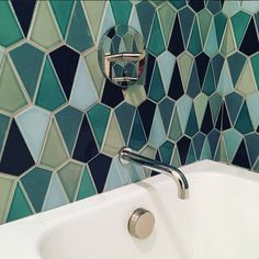 ...And it's @filmoreclark for the win with this gasp-inducing #tiled #bathroom #design! The @prattandlarson #tiles in fresh #colors and fun #shapes set the stage for a beautiful #bathroom (can't wait to see full installation pix!) / #tiletuesday #tile #tiling #mosaic #mosaics #interior #interiordesign #interiordesigner #idcdesigners #interiors #bathroomdesign #greentiles #bluetiles #backsplash #bathroomtiles #walltiles #tileaddiction #tilelove by tiletuesday