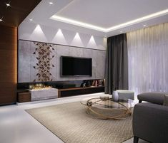Browse home theater design and living room theater decor inspiration. Discover designs, colors and furniture layouts for your own in-home movie theater. Ceiling Design Living Room, Living Room Interior, Living Room Designs, Blue Accent Walls, Accent Walls In Living Room, Blue Accents, Grey Walls, Living Room Theaters, Living Room Tv Unit