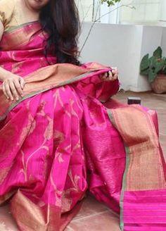 Pink Pure banaras saree with floral design