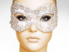 White And Cream Bridal Masquerade Mask With Various by SOFFITTA