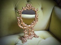 Hollywood Regency Mirror Antique Gold Victorian Vanity Gilded Heavy Cast Iron Ornate Romantic Glamorous Boudoir Accessories Baroque Rococo on Etsy, $65.00