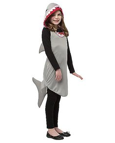 Who Knew Sharks Could Be So Adorable! This One Piece Hoodie Dress Is Perfect For A Simple And Cute Girl'S Halloween Costume. The Light Weight Polyester Costume Features A Sleeveless Gray Polyester Dress With Attached Fins And A Hoodie That Looks Like An Cute Girl Halloween Costumes, Tween Costumes, Shark Costumes, Halloween Dress, Shark Bite Costume, Halloween 2016, Spirit Halloween, Halloween Crafts, Shark Dress