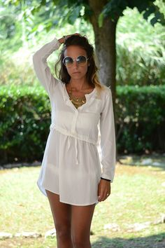 abito camicia bianco - white chemisier - ootd - outfit - shirt dress