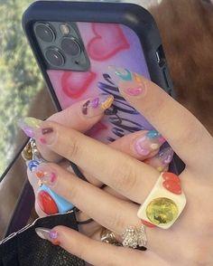 Nail Polish, Gel Nails, Acrylic Nails, Cute Nails, Pretty Nails, Estilo Madison Beer, Mode Rose, Aesthetic Phone Case, Nail Ring