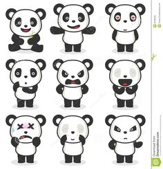 Vario Personaje De Dibujos Animados De La Panda Foto de archivo libre de regalías - Imagen: 22785955