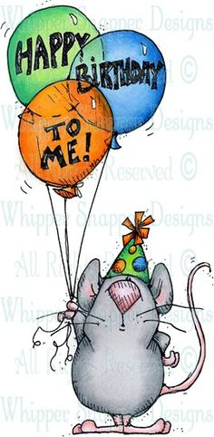 Happy Birthday to Me - Mice - Animals - Rubber Stamps - Shop