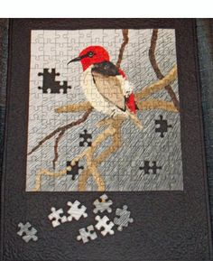 jigsaw puzzle quilt.... with a bird on it :)