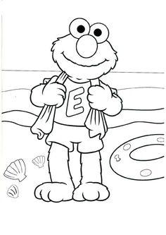 Kleurplaat Elmo Op Het Strand Kids N Fun Beach Coloring PagesElmo