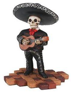 """""""Mariachi Guitar Player"""" Collectible Dia de los Muertos Figure (black)"""