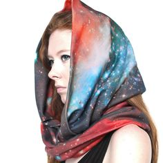 Crimson Galaxy Circle Scarf