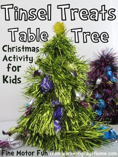 Learn with Play at home: Tinsel Treats Table Tree. Easy Christmas Craft for Kids. (makes fun gifts as well)