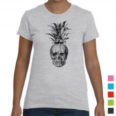 Retro Cool Pineapple Skull Women's T-Shirt.