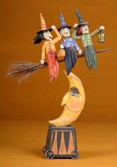 "Halloween folk art wood carving ""Mass Transit"" by The Whimsical Whittler"