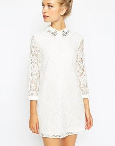 ASOS Lace Shift Dress With Embellished Collar at asos.com