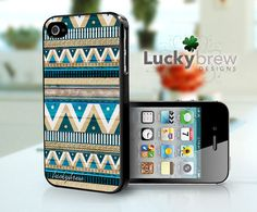 Aztec iPhone 4 4s Hard Case - Blue Wood Aztec Hipster Tribal Pattern - Phone Cover. $15.88, via Etsy.