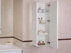 """Bathroom wall storage cabinets - The small bathrooms are the order of the day. The """"current"""" current houses have small bathrooms, and there is. Under Bathroom Sink Storage, Bathroom Storage Solutions, Wall Shelves Design, Wall Mounted Shelves, Simple Bathroom, Modern Bathroom, Wood Bathroom, Basement Bathroom, Bathroom Cabinets"""