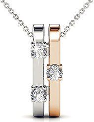 "Fappac Rhodium and 18k Rose Gold Plated Crystals from Swarovski Bars Pendant Necklace, 16.5+1.5"" Ext"