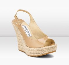 Patent Leather Espadrille Wedges Nude