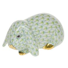 """Herend Hand Painted Porcelain Figurine """"Lop Ear Bunny"""" Key Lime Fishnet Gold Accents."""