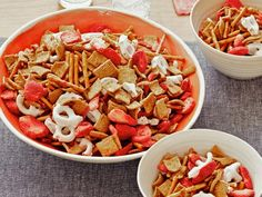 Creative snack mixes are PERFECT for game day! Start with a Strawberry-Pretzel combo.