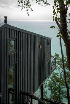 piliers en acier & vue panoramique lac - House-Todos-Los-Santos par Apio Arquitectos - Puerto Montt, Chili