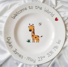 Personalized blue baby new baby gift safari baby boy blue personalised baby giraffe plate newborn baby announcement gift hand painted baby keepsake unique new baby plate babys first gift negle Image collections
