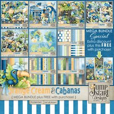 Orange Cream & Cabanas ~ MEGA Bundle with Free With Purchase~ by Jumpstart Designs. It has everything you need to scrap all those beautiful summer memories.  On sale at 35% off. A smaller Bundle and Add On Bundle are also available plus you can get the packs in separate packs too. Available at Pickleberrypop