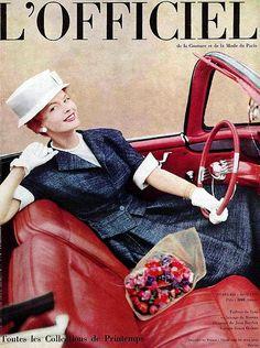 Suit by Grès, hat by Jean Barthet, car Simca Ocèane, L'Officiel, April 1959